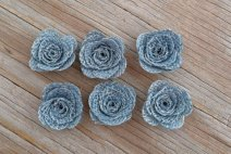 Dusty blue burlap decorative flowers - www.etsy.com/shop/BellaSupplyBoutique
