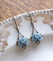 Dusty blue earrings - www.etsy.com/shop/fromthevine