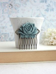 Dusty blue hair comb - www.etsy.com/shop/Marolsha