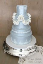 Dusty blue wedding cake - Fay Cahill Cake Design