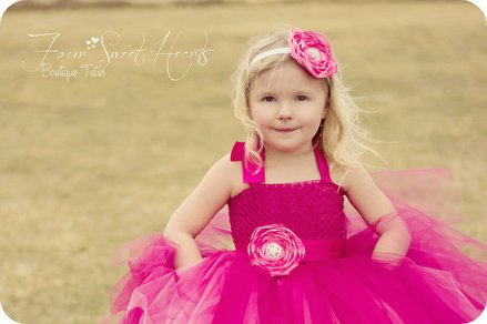 Hot pink flower girl dress - www.etsy.com/shop/FourSweetHeartsTutus