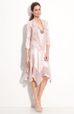 Komarov Beaded Pleated Charmeuse Dress & Jacket - nordstrom.com