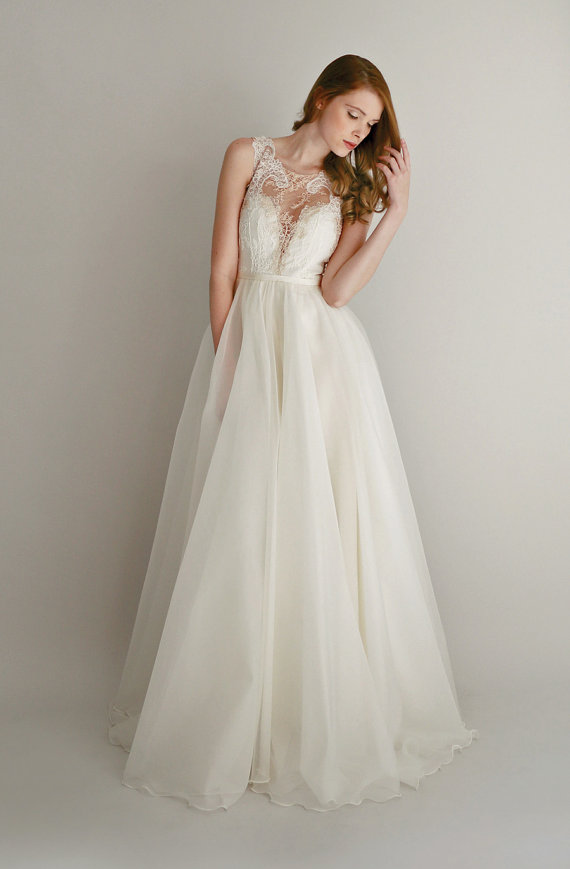 Lace and silk chiffon wedding dress us 2878 for Wedding dress on etsy