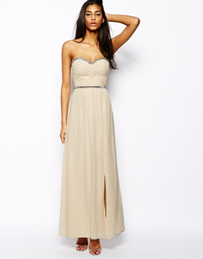 Little Mistress bandeau maxi dress with embellishment - asos.com