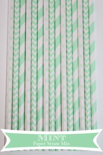 Mint and white paper straws - www.etsy.com/shop/PartyDelights