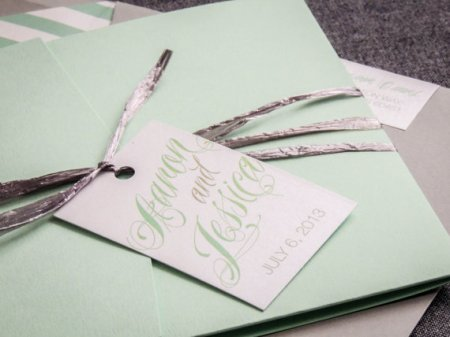 Mint and white wedding invitation - www.etsy.com/shop/JulieHananDesign