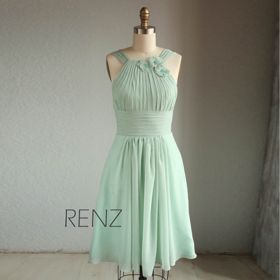 Sage green bridesmaid dress for Mint green wedding dress