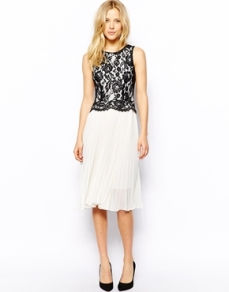 Oasis pleated lace dress - asos.com