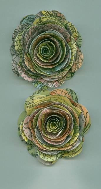 Paper map flowers - www.etsy.com/shop/crazy2becrazy