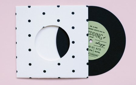 Paper record wedding invitation - www.etsy.com/shop/ElloThere