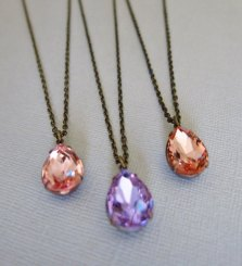 Peach and purple bridesmaid necklace set - www.etsy.com/shop/CRystalCRush