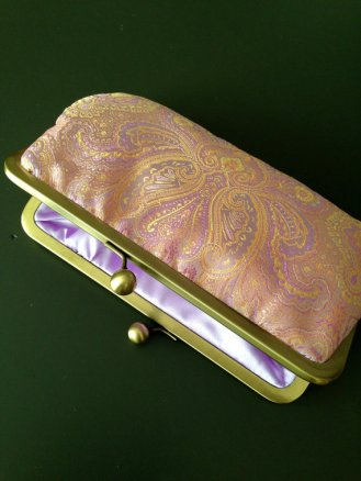 Peach and purple clutch purse - www.etsy.com/shop/girlbyAileen
