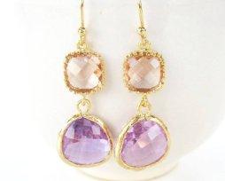 Peach and purple earrings - www.etsy.com/shop/53Countesses
