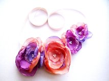 Peach and purple hair accessory - www.etsy.com/shop/SenoritaJoya