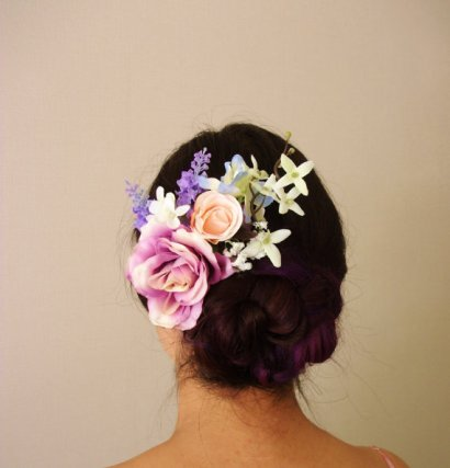 Peach and purple silk flower hair accessory - www.etsy.com/shop/MissWildFlowers