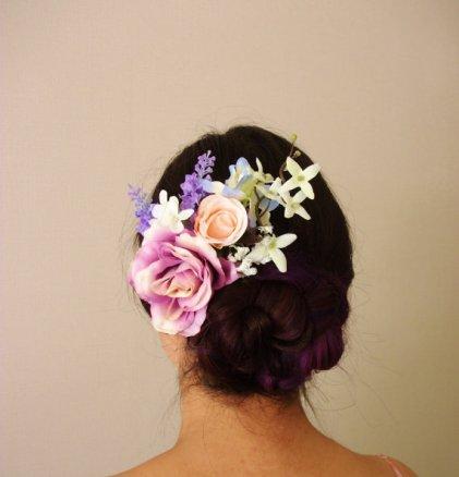 Peach and purple silk flower hair accessory - www.etsy.com/shop/MissWildFlowers