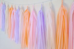 Peach and purple tassel garland - www.etsy.com/shop/FancyFacePaperStudio