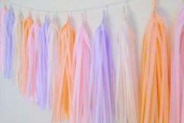 Peach and purple tassel garland - www.etsy.com/shop/FancyFacePaperStudio