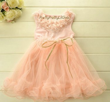 Peach flower girl dress - www.etsy.com/shop/PrettyPrettyLilGirls
