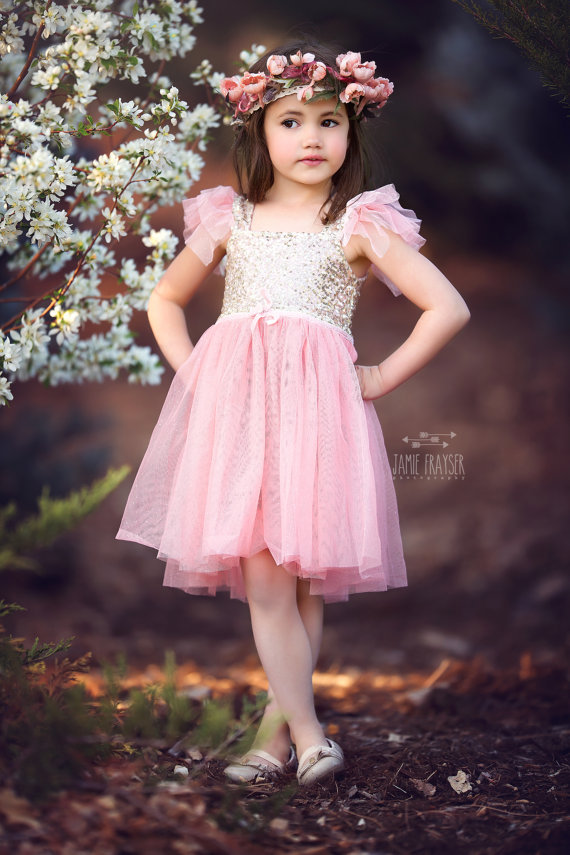 Pink tulle and gold sequin flower girl dress – www.etsy ...