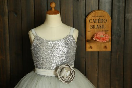 Silver sequin and tulle flower girl dress - www.etsy.com/shop/thstylee1