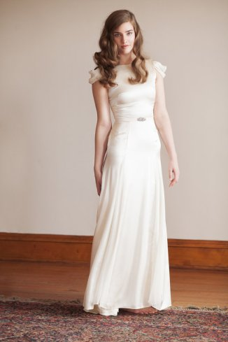 Wedding dress with cap sleeves (US$1695) - www.etsy.com/shop/JillianFellers