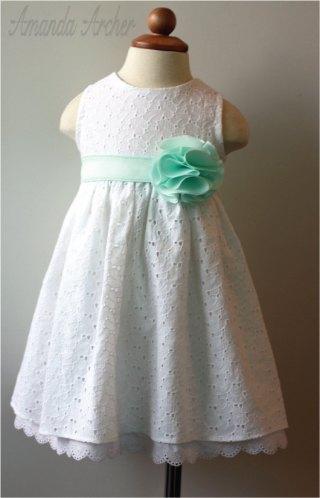 White and mint flower girl dress - www.etsy.com/shop/AmandaArcher