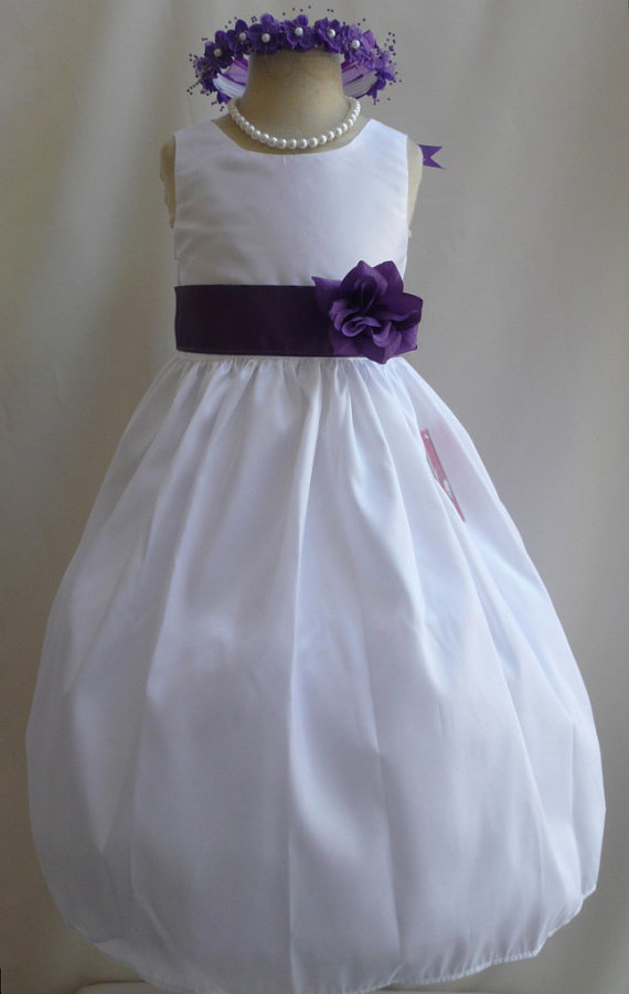 White And Purple Flower Girl Dress Etsyshop