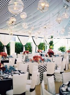 Black and white striped marquee/tent! Love. {via thebridaldetective.com}