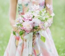 Bridesmaid in a watercolour dress {via greenweddingshoes.com}