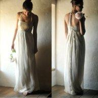 Gold and white wedding dress - www.etsy.com/shop/larimeloom