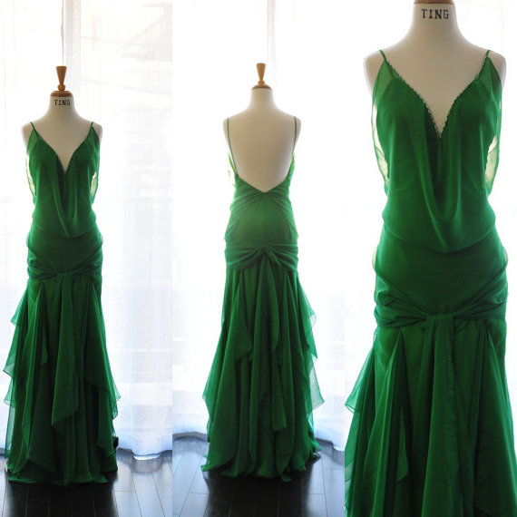 Green wedding dress the for Best etsy wedding dress shops