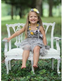 Grey ruffled flower girl dress - www.etsy.com/shop/jamiepowell