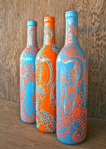 Handpainted turquoise and orange wine bottle vases - www.etsy.com/shop/LucentJane