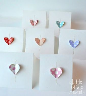 Heart notecards tutorial - http://littlebirdiesecrets.blogspot.co.nz/2011/02/love-notes-easy-note-cards.html