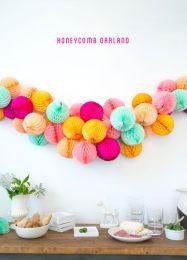 Honeycomb garland tutorial - http://ohhappyday.com/2013/07/honeycomb-garland-diy/