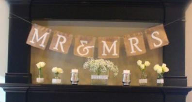 Mr and Mrs burlap banner tutorial - http://rusticweddingchic.com/how-to-make-a-mr-mrs-burlap-banner