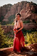 Ombre red and peach wedding dress - www.etsy.com/shop/SilkEscape