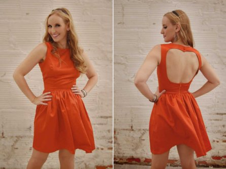Orange open-back bridesmaid dress - www.etsy.com/shop/patriciavalery
