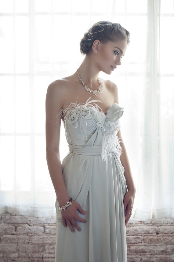 Pale grey wedding dress for Wedding dress on etsy