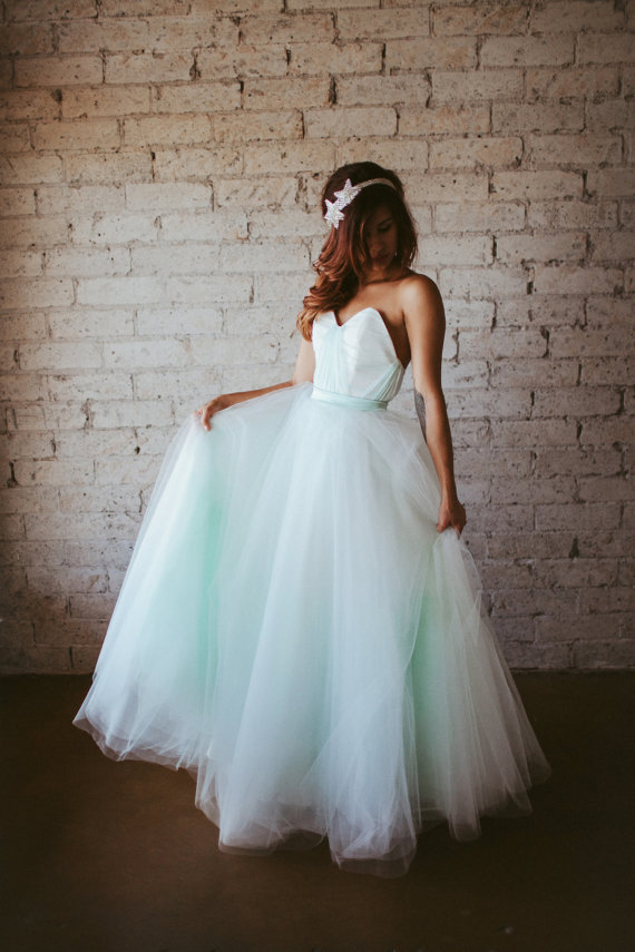 Pale mint wedding dress the for Wedding dress on etsy