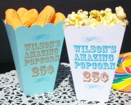 Personalised popcorn boxes - www.etsy.com/shop/6elmdesigns