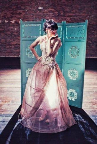 Pink and gold wedding dress - www.etsy.com/shop/BellaVittoria