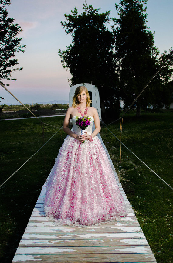 Colourful wedding dresses on the merry bride for Best etsy wedding dress shops
