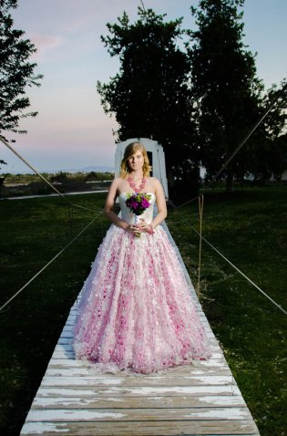 Pink and ivory wedding dress - www.etsy.com/shop/StaysiLeeCouture