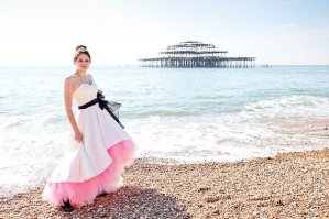 Pink, white and black wedding dress - www.etsy.com/shop/louiseomahony