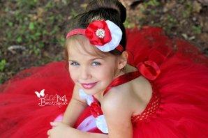 Red and white flower girl dress - www.etsy.com/shop/LilPoshBtq