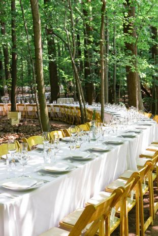 Tables winding through the forest. So breathtaking. {via stylemepretty.com}