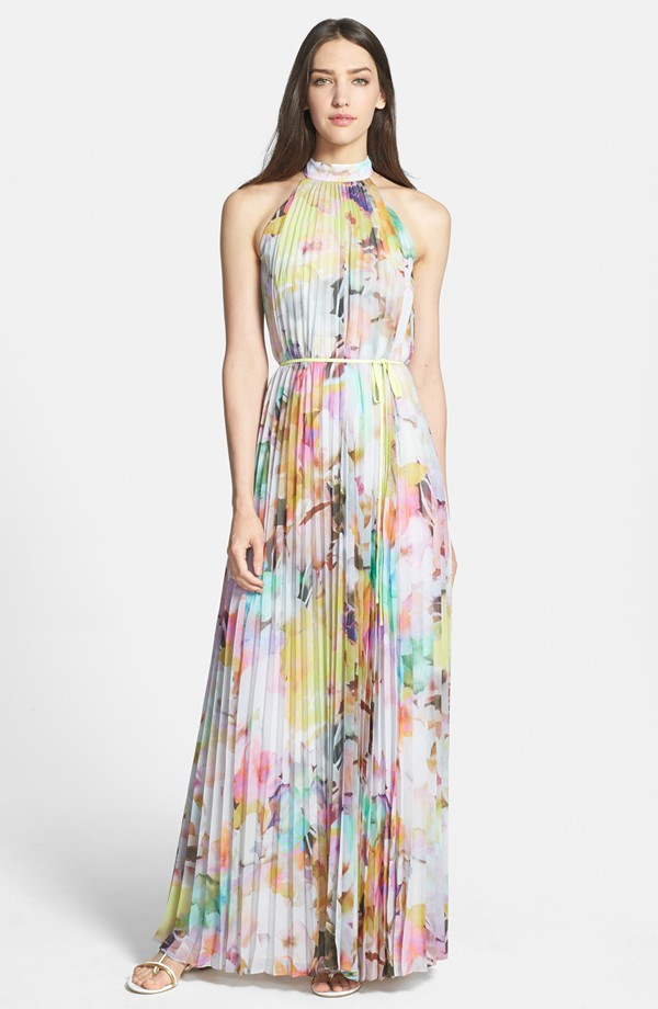 Ted baker electric daydream print pleated maxi dress for Print maxi dress for wedding