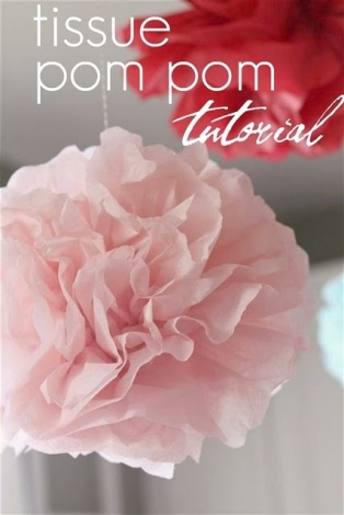 Tissue-paper pompom tutorial - http://ourdailyobsessions.blogspot.co.nz/2011/05/party-details-tissue-pom-pom-tutorial.html